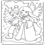 Christmas coloring pages - Angel and boy
