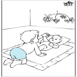 Theme coloring pages - Baby and his brother