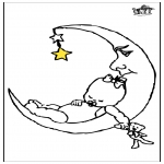 Kids coloring pages - Baby and moon