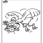 Theme coloring pages - Baby and Stork 1