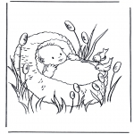 Theme coloring pages - Baby in basket