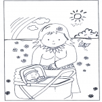 Kids coloring pages - Baby in pram