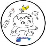 Theme coloring pages - Baby - Pricking card 3