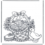 Theme coloring pages - Basket with eggs