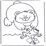 animals coloring pages - Bear and frog
