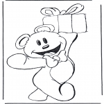 Theme coloring pages - Bear with present