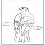 Animals coloring pages - Bird of prey in tree