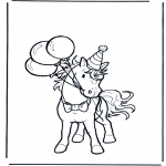 animals coloring pages - Birthday horse