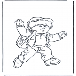 Kids coloring pages - Boy with bag