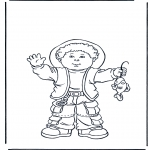 Kids coloring pages - Boy with fish