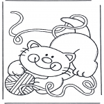 Animals coloring pages - Cat with toy