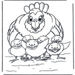 Animals coloring pages - Chicken and little chicks