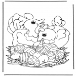 Theme coloring pages - Chicken with Easter eggs