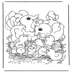 Theme coloring pages - Chicken with eggs