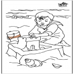 Kids coloring pages - Child at the sea