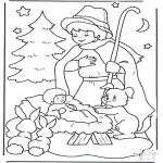 Christmas coloring pages - Child in manger