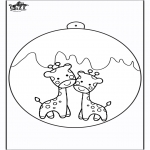 Christmas coloring pages - Christmas ball giraffe