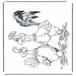 Animals coloring pages - Cock and chicken