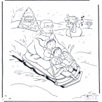 Winter coloring pages - Coloring page sledge