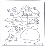 Winter coloring pages - Coloring page snowball