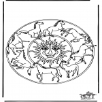 Mandala Coloring Pages - Coloring picture mandala horse