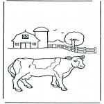 Animals coloring pages - Cow on farm