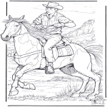 Animals coloring pages - Cowboy and horse