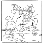 Animals coloring pages - Cowboy on horse