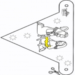 Christmas coloring pages - Crib Little flag