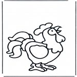 Animals coloring pages - Crowing cock