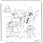 Winter coloring pages - Dad with snowman