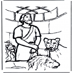 Bible coloring pages - Daniel's In The Lion's Den 1