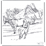 Winter coloring pages - Deer in the snow