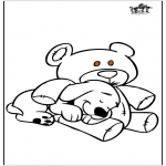Animals coloring pages - Dog and bear