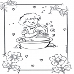 Kids coloring pages - Doing the dishes