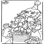 Theme coloring pages - Dora birthday