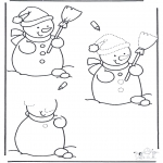 Winter coloring pages - Drawing snowman