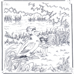 Animals coloring pages - Duck with elf