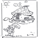 Kids coloring pages - Dwarf near his house