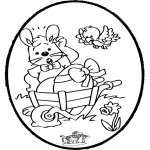 Theme coloring pages - Easter bunnies - Pricking card 1