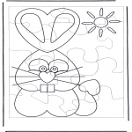 Theme coloring pages - Easter bunny puzzle 1