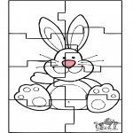 Theme coloring pages - Easter bunny puzzle 3