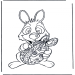 Theme coloring pages - Easter bunny with egg