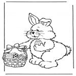 Theme coloring pages - Easter bunny with eggs 2