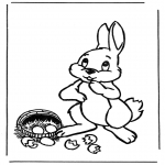 Theme coloring pages - Easter bunny with eggs