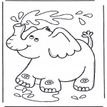 animals coloring pages - Elephant  blows water
