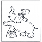 animals coloring pages - Elephant in circus