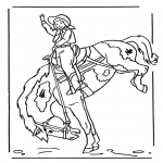 animals coloring pages - Girl on horse 2