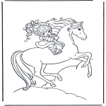 Animals coloring pages - Girl on horse