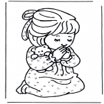Bible coloring pages - Girl prays
